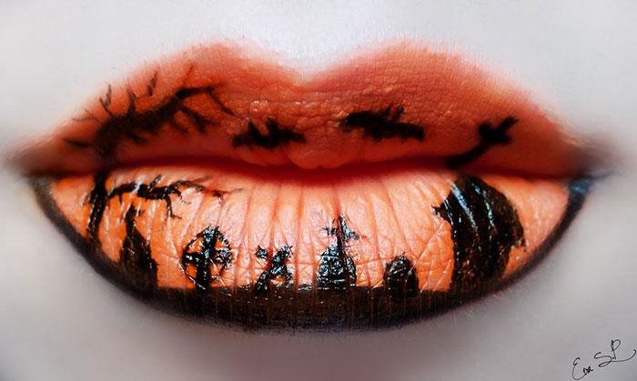 макияж губ (с картинками) на Хэллоуин: кладбище погост и летучие мыши