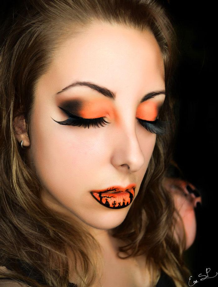 полный макияж на Хэллоуин