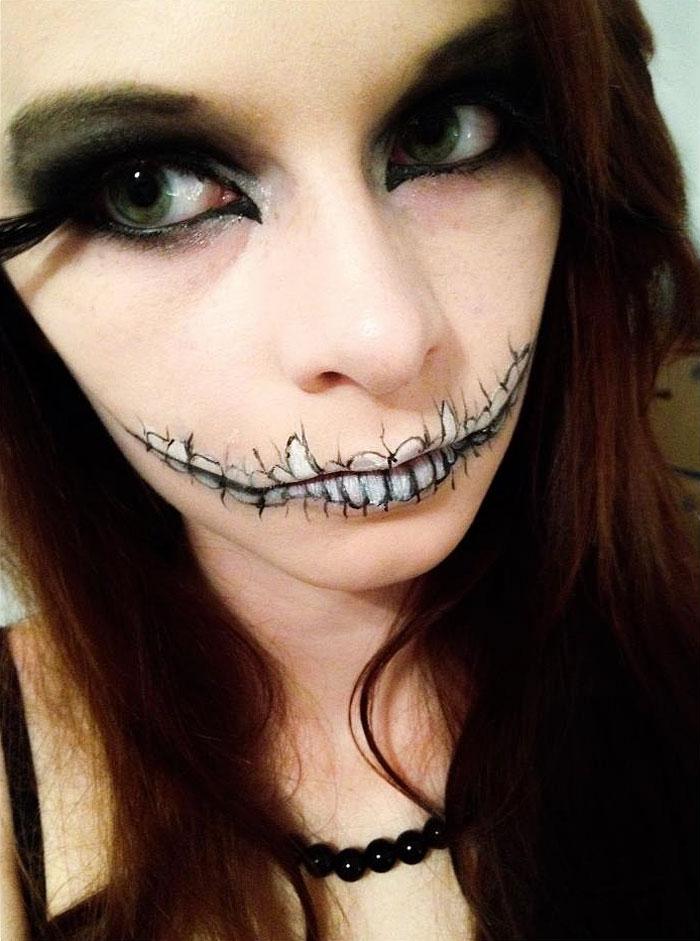 макияж губ (с картинками) на Хэллоуин: зубы, мертвая невеста