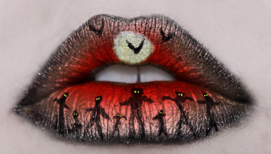 макияж губ (с картинками) на Хэллоуин: зомби на погосте