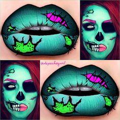 макияж губ (с картинками) на Хэллоуин: неоновые фигурки