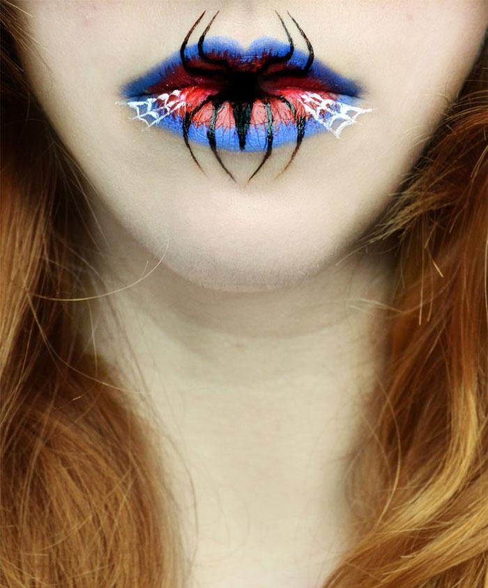 макияж губ (с картинками) на Хэллоуин: паук