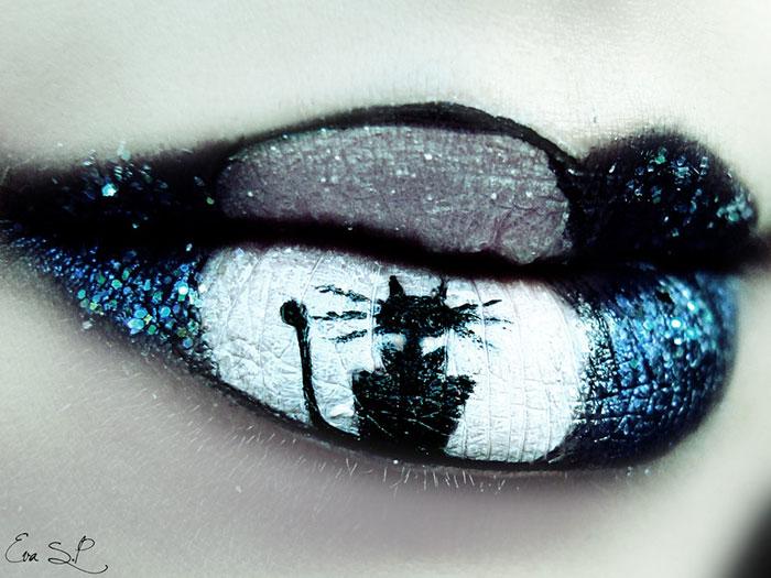 макияж губ (с картинками) на Хэллоуин: черный кот на фоне полной луны