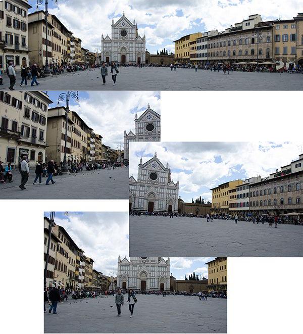 два варината панорамной съемки площади в Италии