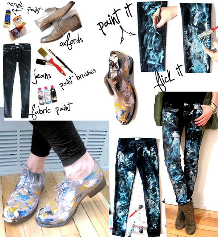 Джинсы-холст: разбрызганная краска. Обувь в аналогичном стиле. пошаговая инструкция в картинках