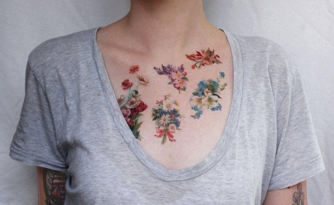 В принципе наблюдается тенденция к нанесению таких татуировок отдельными букетами на тело вне всякой меры