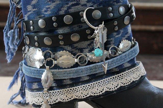 Как модно украсить весенне-осенние ботильоны и полусапожки джинсовой тканью