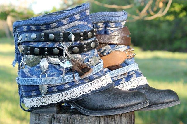 Готовые декоративные накладки на ботинки из джисы, кожи