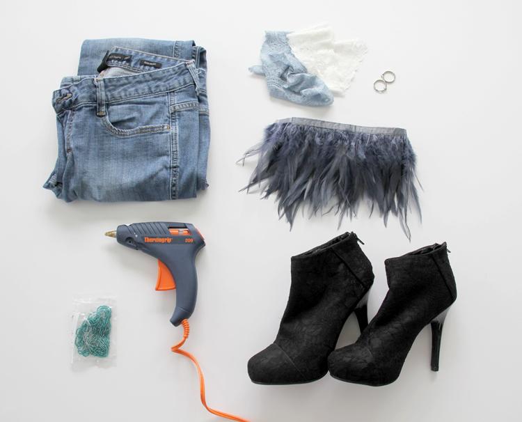 Как модно украсить весенне-осенние ботильоны и полусапожки джинсовой тканью: ботильоны - исходные материалы