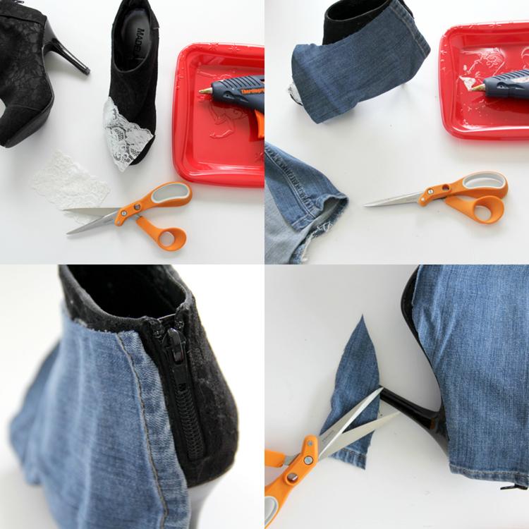 Выберите место на ботиночках, где хотите видеть кружево – чтобы оно проглядывало между джинсой