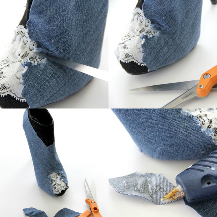 Клей высох – очень аккуратно тонкими ножницами обрезаем ткань по линии подошвы каждого ботильона и вырезаем рамку вокруг кружева