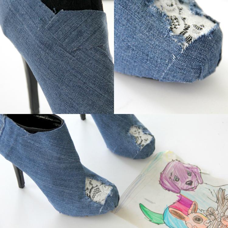 Отрежьте еще 4 штуки – по 2 одинаковых размера и формы, чтобы приклеить/пришить на каждый мысок и сверху спереди, закрывая джинсовой тканью оставшиеся «оголенные» участки на ботильонах