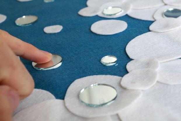 добавьте по всей поверхности «юбки» отражающие свет кружки из выбранного материала