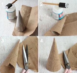 Слой клея наносим на конус как можно равномернее. Оборачиваем конус мешковиной, срезаем лишнюю мешковину сбоку и снизу.