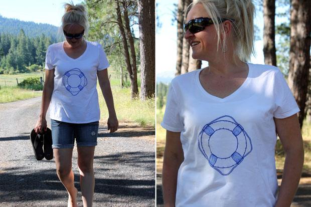 Спасательный круг на белой футболке - морской модный тренд лета 2014