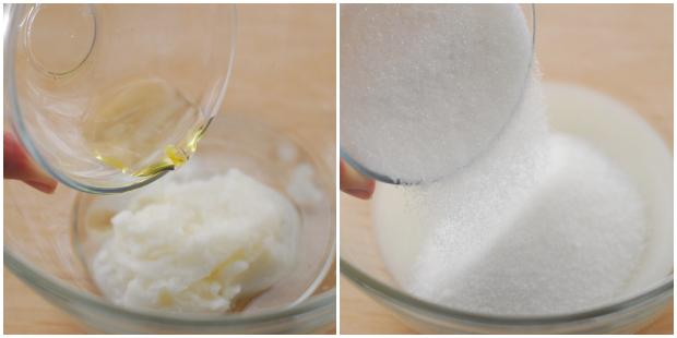 залейте кокосовое масло, засыпьте сахар