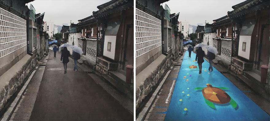 Как выглядит новый тренд в стрит-арте – цветные проявляемые дождем изображения на асфальте