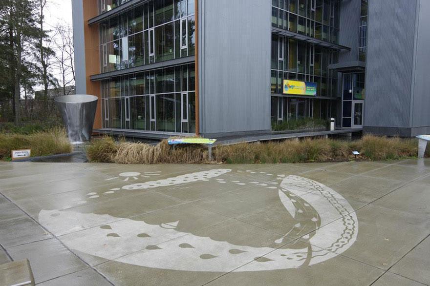Как выглядит новый тренд в стрит-арте – проявляемые дождем изображения - курговорот воды в природе