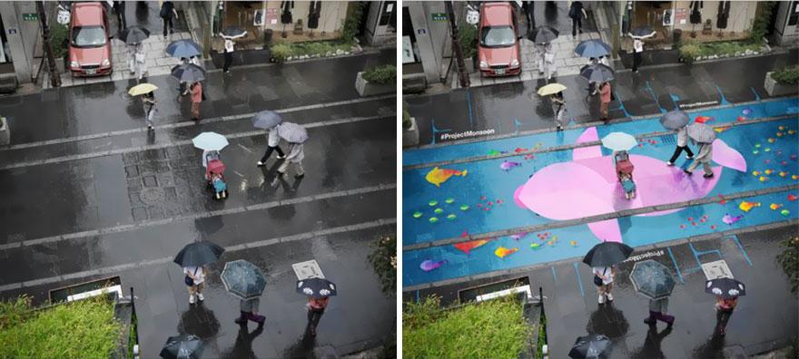 Группа дизайнеров из Южной Кореи возвращает на улицы яркие краски Сеула в дождливые дни в тот самый ежегодный сезон муссонов, когда дожди не прекращаются целые 3 недели