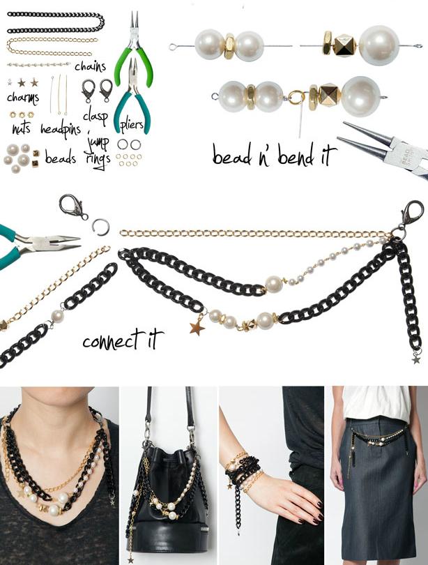Как составлять многоцелевые модные украшения своими руками из цепочек и бусин