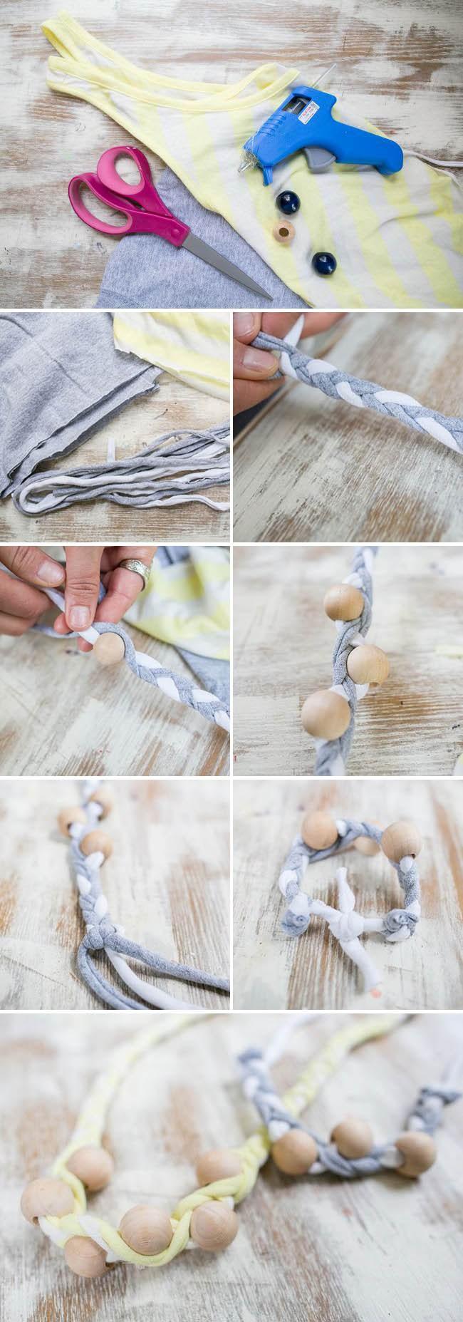 Косы с вплетением крупных деревянных бусин: украшения из ненужных футболок, пошаговая иснструкция в картинках