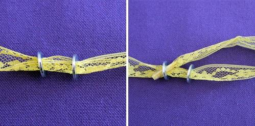 Колье из лент и крупных плоских колец: плоское вплетение колец