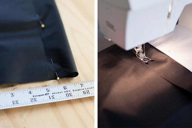 Заколите сложенные края булавками и прошейте на швейной машинке