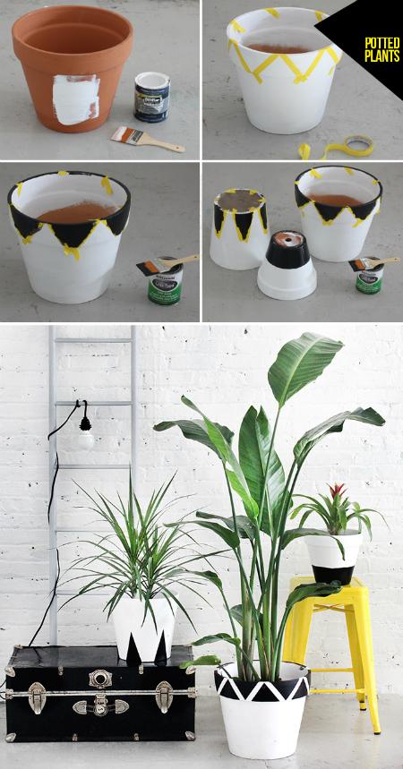 кубически-графические дизайны цветочных горшков