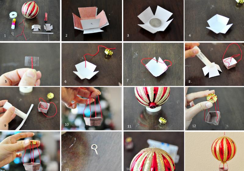 пошаговая схема создания воздушного шара из елочного в картинках - украшаем скучные елочные шары