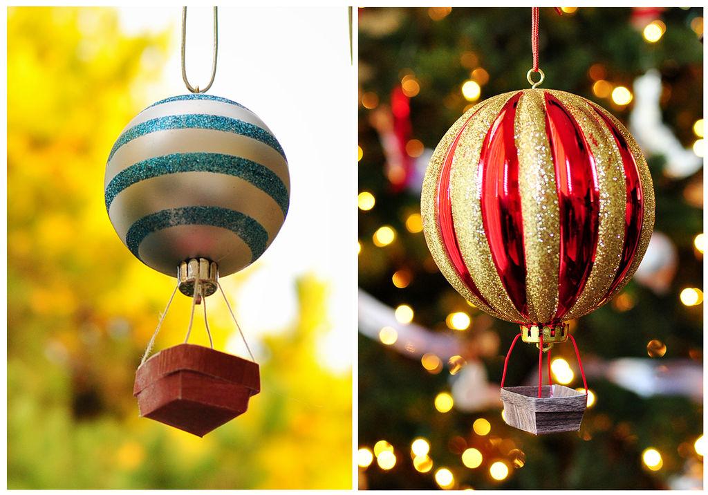 Как украсить слишком скучные елочные шары: делаем воздушный шар