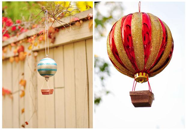 делаем воздушный шар с корзиной из елочного шара