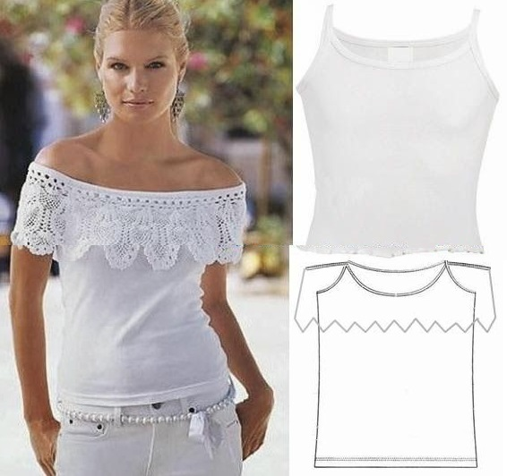 Украшаем скучную футболку: блуза с кружевом и без рукавов