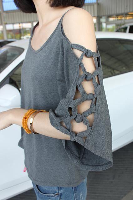 Украшаем скучную футболку: эффектные вставки иксами в рукава сбоку