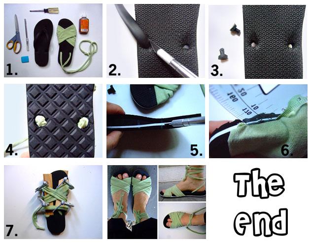 Здесь широкие сложенные вдвое-втрое полоски ткани спереди вшиваются и вклеиваются в горизонтальные разрезы, сделанные ножом в подошве шлепанцев - пошаговая инструкция в картинках