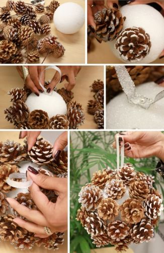 Берем пенопластовые шарики (их можно вырезать самостоятельно, и не обязательно очень ровные) и на их основе создаем подвесные шары