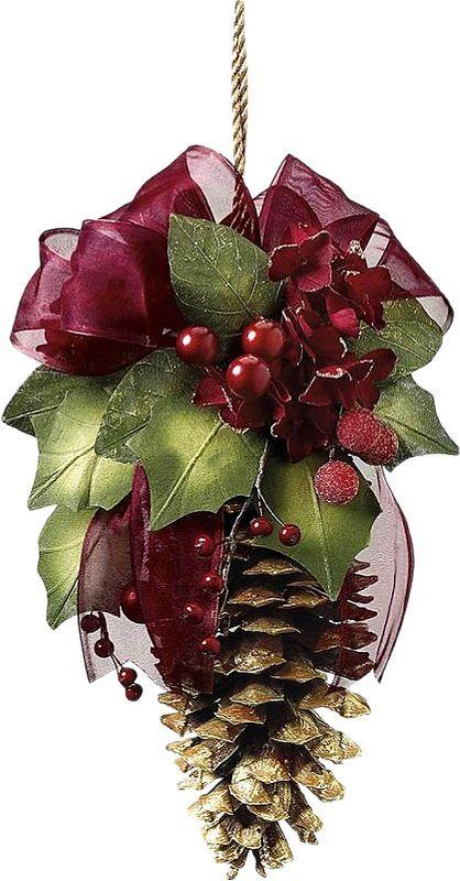 Возьмите одну чистую крупную шишку и сверху соорудите небольшую композицию из искусственных или живых веточек, лент, красных ягод на ветках и проч.