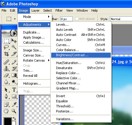 Image->Adjustments->Brightness/Contrast