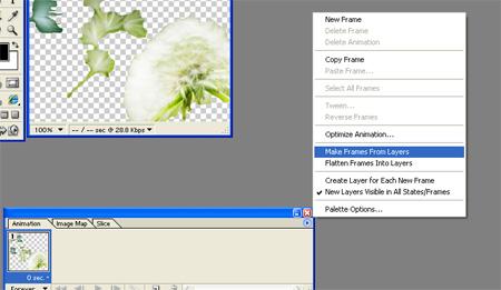 нажмите на стрелочку, откроется подменю, в нем выберите пункт Make Frames From Layers