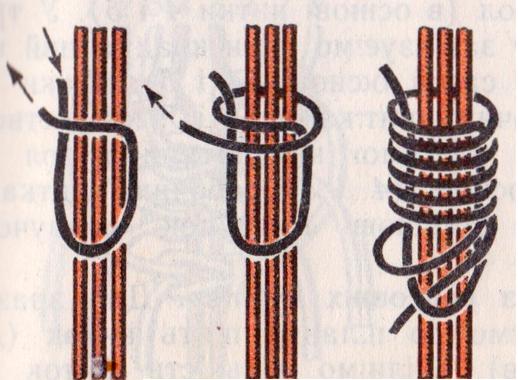 пошаговый процесс в картинках - закрепляющий пучок витой узел - морской или макраме