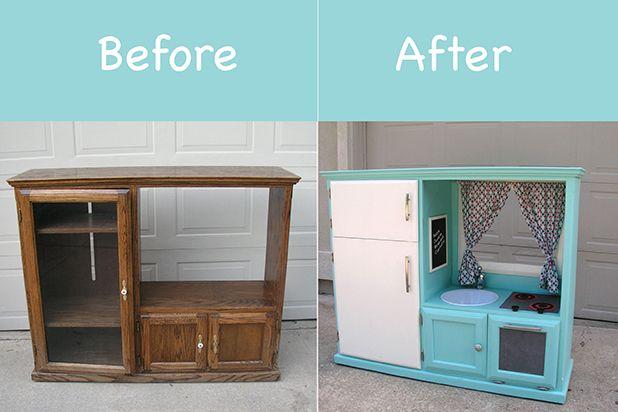 Как превратить старый шкафчик или тумбу из-под телевизора в винтажную детскую кухню  - развлекательные комплексы для детей своими руками