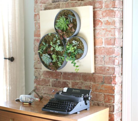 Наконец, аккуратно вешаем зеленую картину из суккулентов на стену