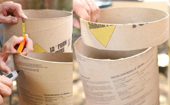 Сделайте высокие рамки из картона для вашей композиции: круги, нарезанные из sonotube трех разных диаметров