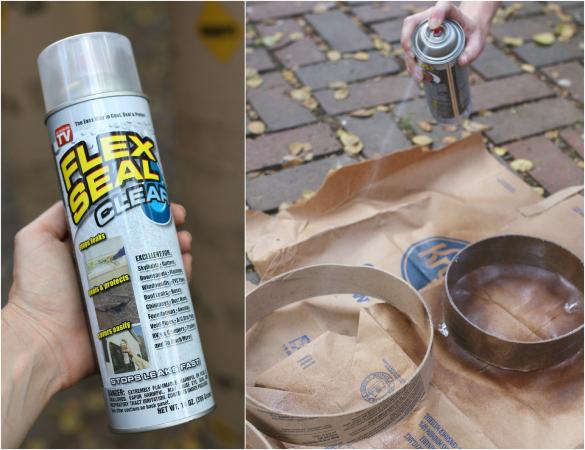 Готовые картонные каркасы-рамки для посадок необходимо сделать водостойкими. Поэтому мы покрываем их жидкой резиной.