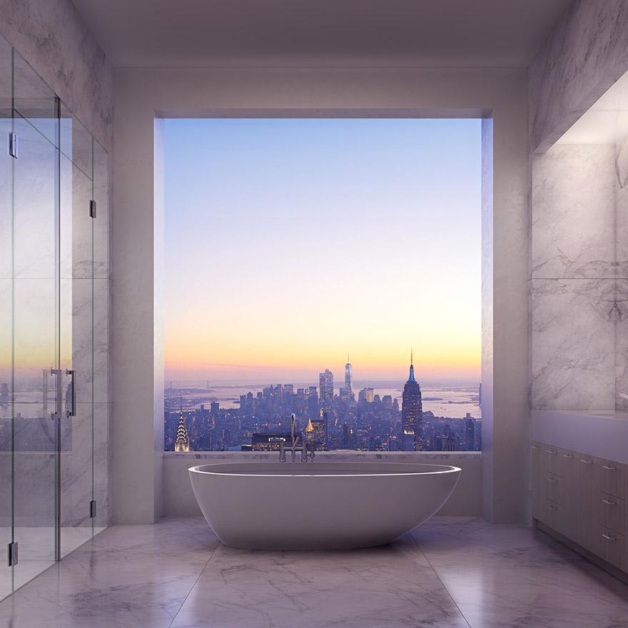 432 Парк-Авеню (432 Park Avenue) - апартаменты/квартира/пентхаус в полукилометре над городом в Нью-Йорке: хозяйская ванная