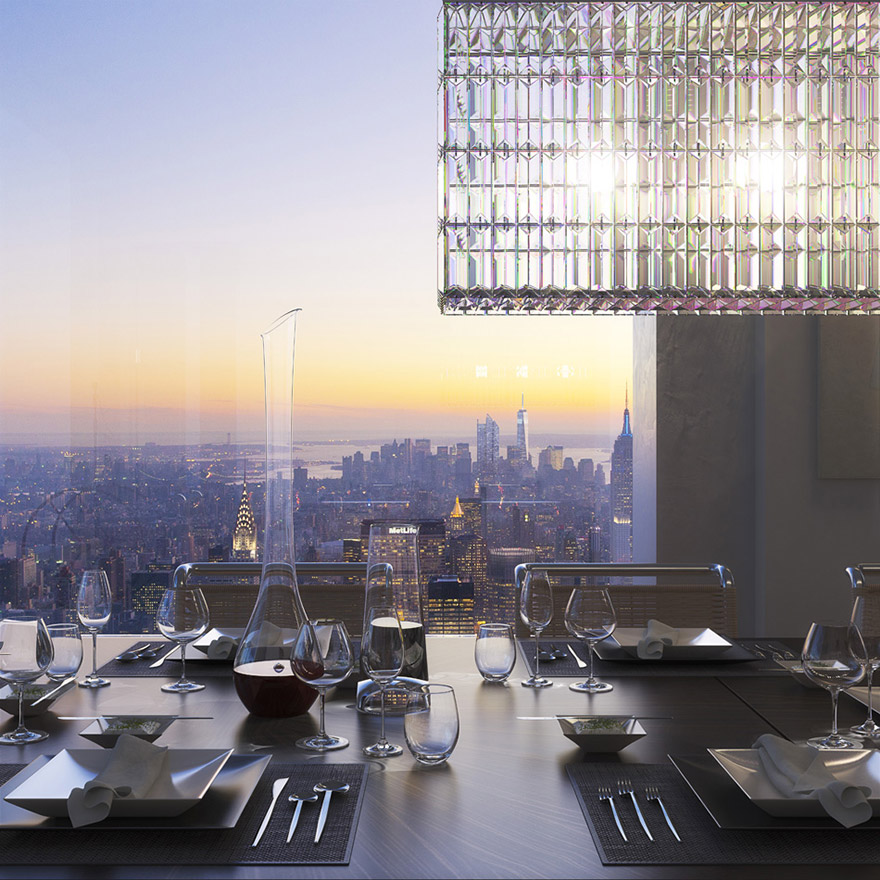 432 Парк-Авеню (432 Park Avenue) - апартаменты/квартира/пентхаус в полукилометре над городом в Нью-Йорке: обеденная зала, вид из окна