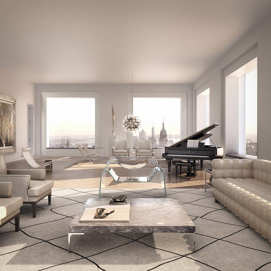 432 Парк-Авеню (432 Park Avenue) - апартаменты/квартира/пентхаус в полукилометре над городом в Нью-Йорке: гостиная