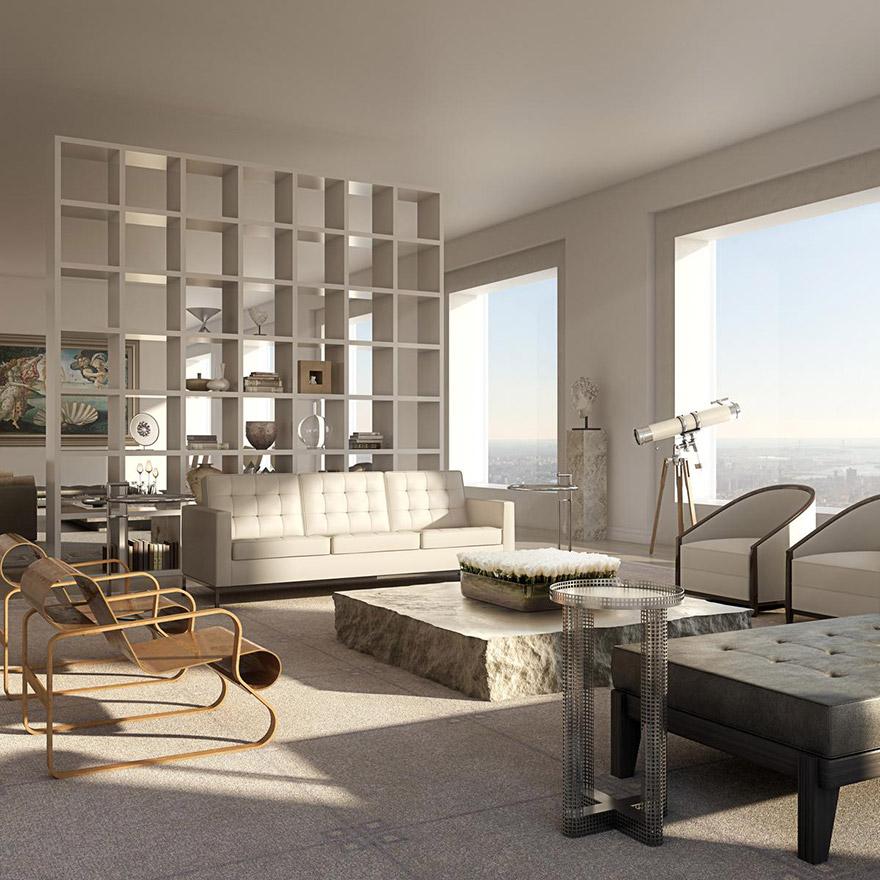 432 Парк-Авеню (432 Park Avenue) - апартаменты/квартира/пентхаус в полукилометре над городом в Нью-Йорке: гостиная, другой ракурс