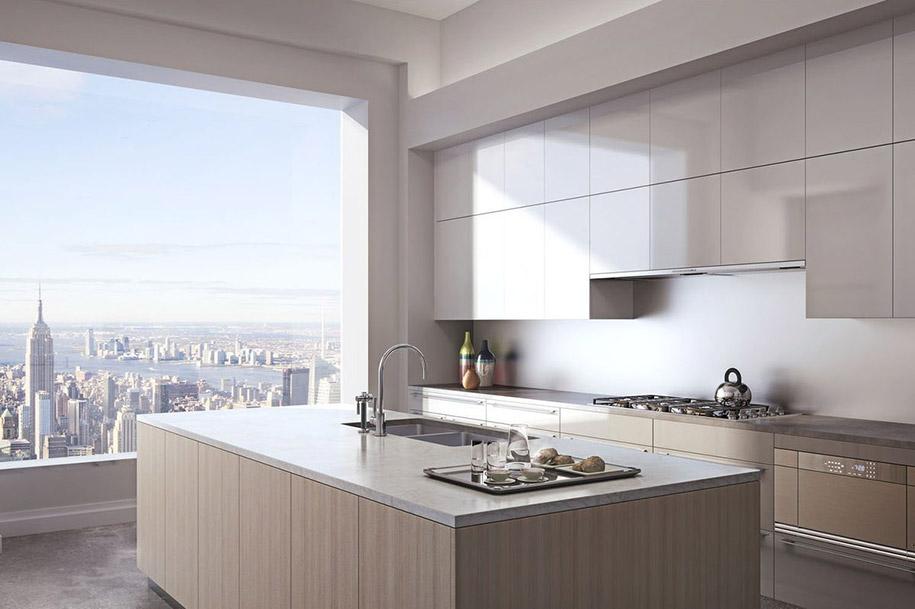 432 Парк-Авеню (432 Park Avenue) - апартаменты/квартира/пентхаус в полукилометре над городом в Нью-Йорке: типовая кухня