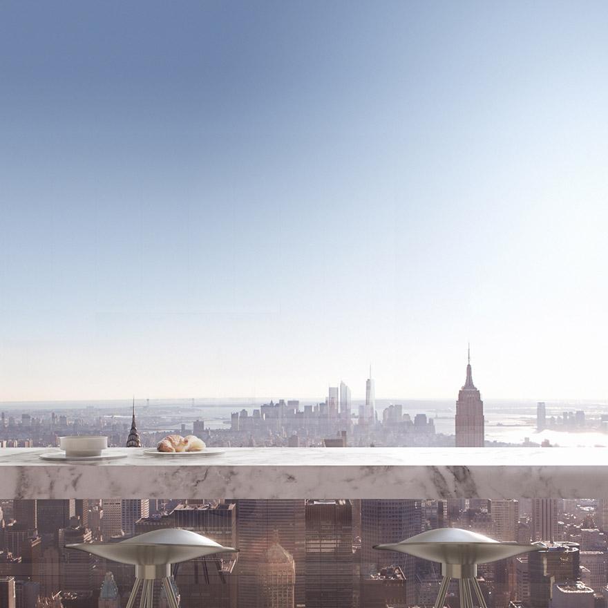 432 Парк-Авеню (432 Park Avenue) - апартаменты/квартира/пентхаус в полукилометре над городом в Нью-Йорке: бар-завтрак на открыто террасе