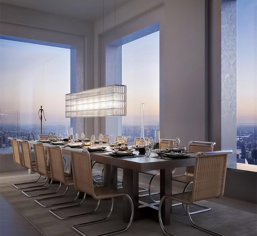 432 Парк-Авеню (432 Park Avenue) - апартаменты/квартира/пентхаус в полукилометре над городом в Нью-Йорке: обеденная зала